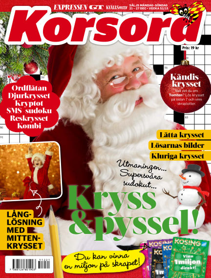 Korsord December 21, 2015 00:00