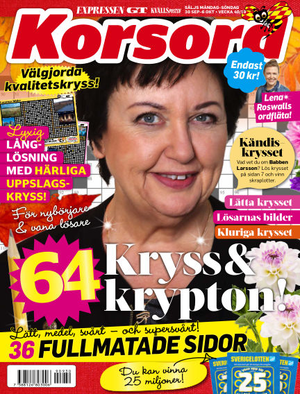 Korsord September 30, 2019 00:00