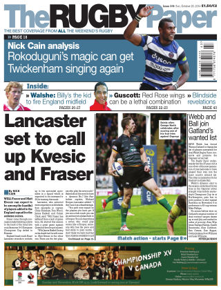 The Rugby Paper 26th October 2014