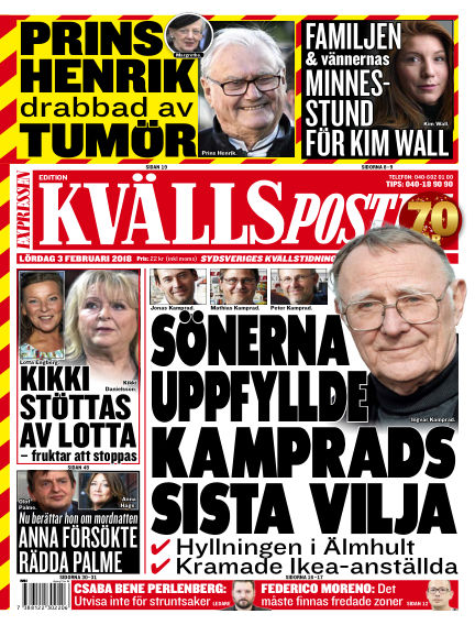 Kvällsposten February 03, 2018 00:00