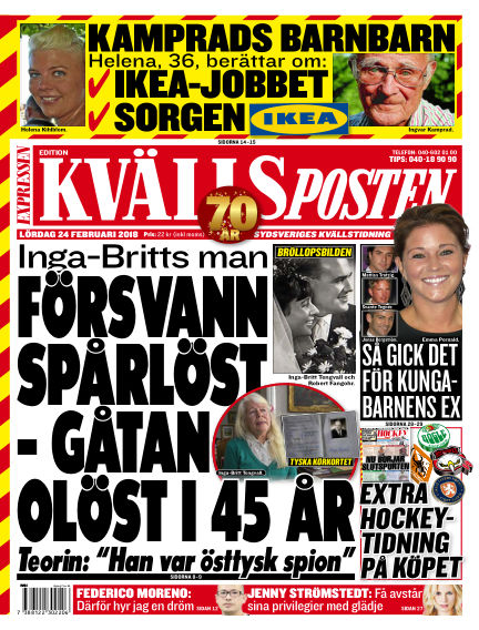 Kvällsposten February 24, 2018 00:00