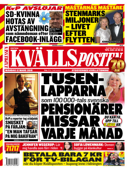 Kvällsposten March 12, 2018 00:00