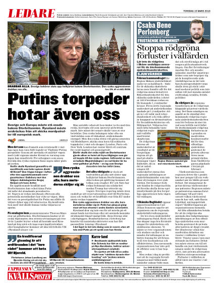 Kvällsposten March 15, 2018 00:00