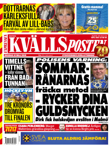 Kvällsposten May 16, 2018 00:00