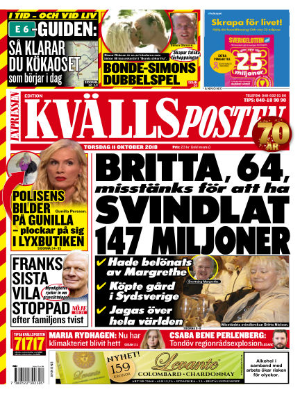 Kvällsposten October 11, 2018 00:00