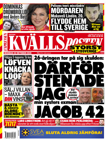 Kvällsposten October 22, 2018 00:00