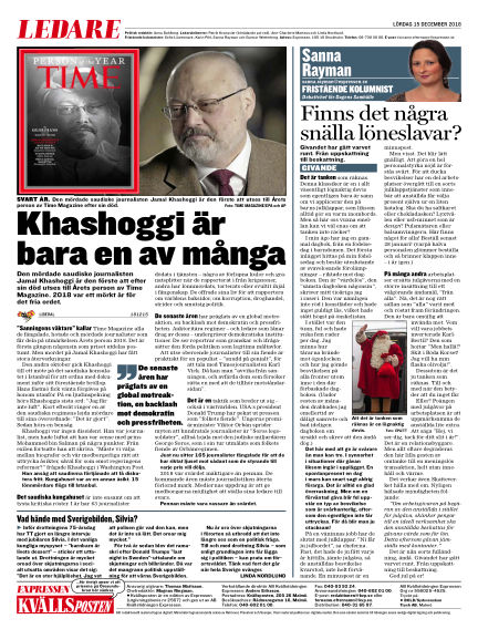 Kvällsposten December 15, 2018 00:00