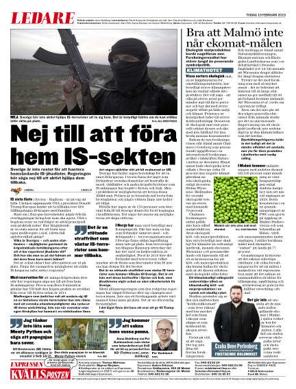 Kvällsposten February 19, 2019 00:00
