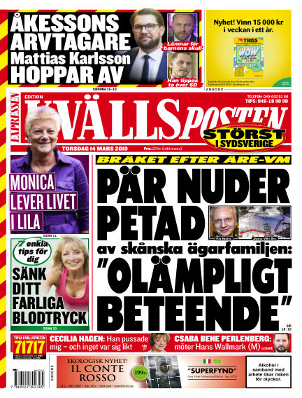 Kvällsposten March 14, 2019 00:00
