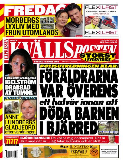 Kvällsposten March 15, 2019 00:00