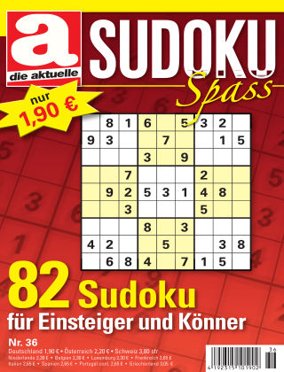 Die aktuelle Sudoku Spass Nr. 36 2017
