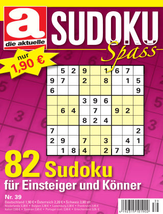 Die aktuelle Sudoku Spass Nr. 39 2017