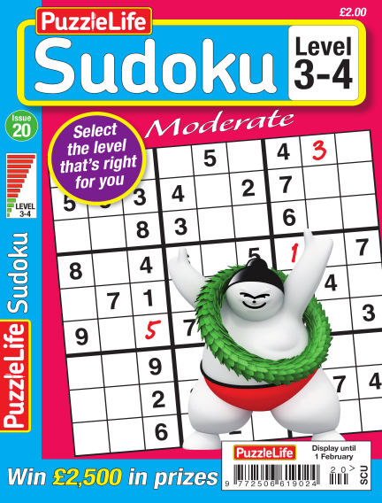 PuzzleLife Sudoku Moderate 3-4 January 04, 2018 00:00