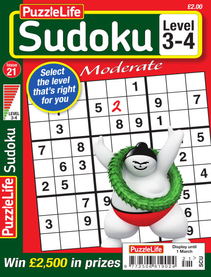 PuzzleLife Sudoku Moderate 3-4 February 01, 2018 00:00
