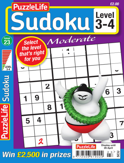 PuzzleLife Sudoku Moderate 3-4 March 29, 2018 00:00