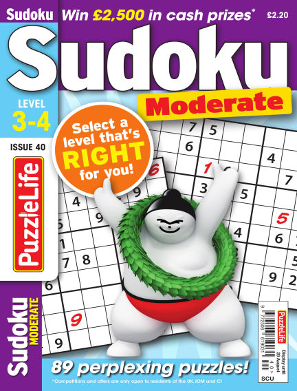 PuzzleLife Sudoku Moderate 3-4 August 01, 2019 00:00