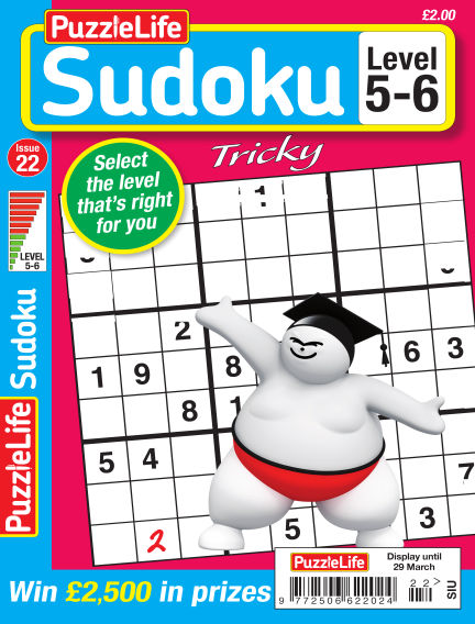 PuzzleLife Sudoku Tricky 5-6 March 01, 2018 00:00