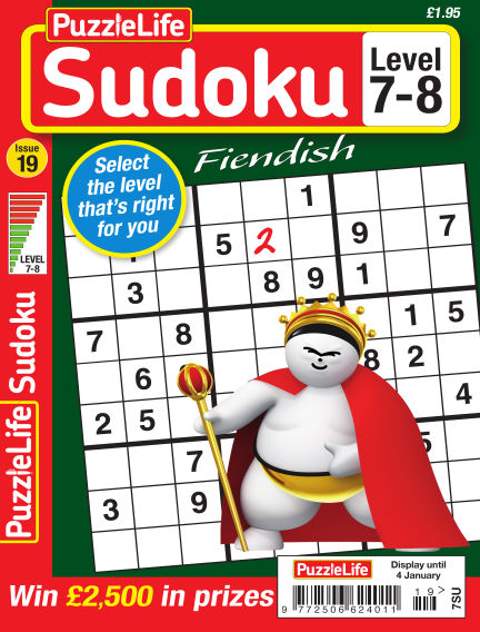 PuzzleLife Sudoku Fiendish 7-8 December 07, 2017 00:00