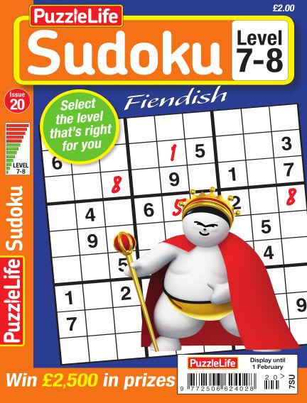PuzzleLife Sudoku Fiendish 7-8 January 04, 2018 00:00