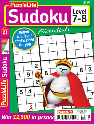 PuzzleLife Sudoku Fiendish 7-8 Issue 21