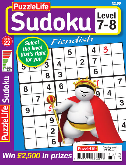 PuzzleLife Sudoku Fiendish 7-8 March 01, 2018 00:00