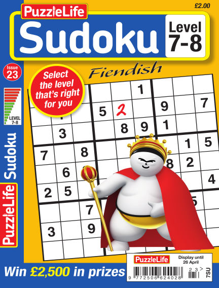 PuzzleLife Sudoku Fiendish 7-8 March 29, 2018 00:00