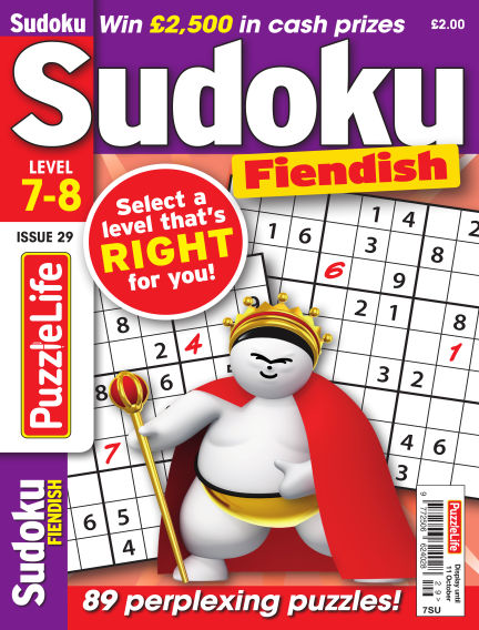 PuzzleLife Sudoku Fiendish 7-8 September 13, 2018 00:00