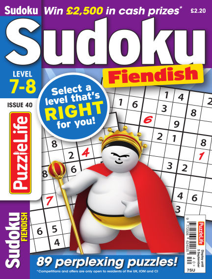 PuzzleLife Sudoku Fiendish 7-8 August 08, 2019 00:00