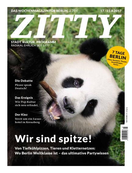 ZITTY Das Berlin-Magazin für 14 Tage und die Nächte August 15, 2017 00:00