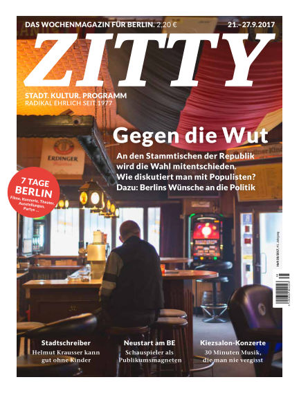 ZITTY Das Berlin-Magazin für 14 Tage und die Nächte September 19, 2017 00:00