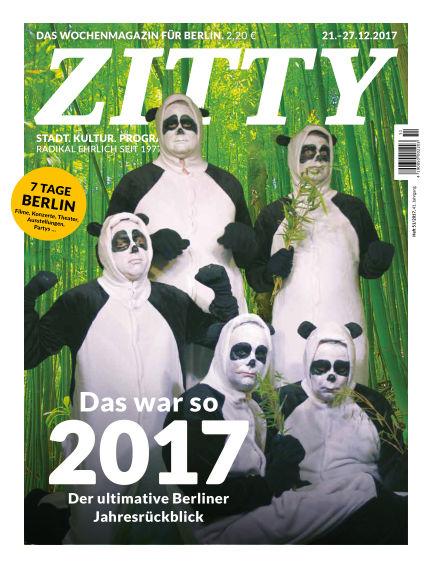ZITTY Das Berlin-Magazin für 14 Tage und die Nächte December 20, 2017 00:00