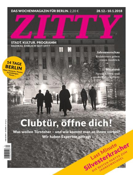 ZITTY Das Berlin-Magazin für 14 Tage und die Nächte December 27, 2017 00:00