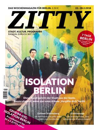 ZITTY Das Berlin-Magazin für 14 Tage und die Nächte 8/2018