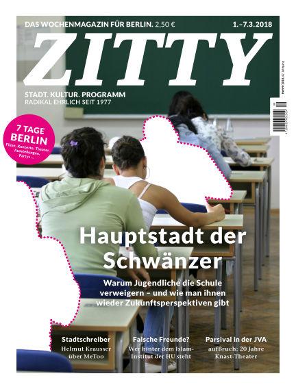 ZITTY Das Berlin-Magazin für 14 Tage und die Nächte February 27, 2018 00:00