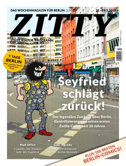 ZITTY Das Berlin-Magazin für 14 Tage und die Nächte March 20, 2018 00:00