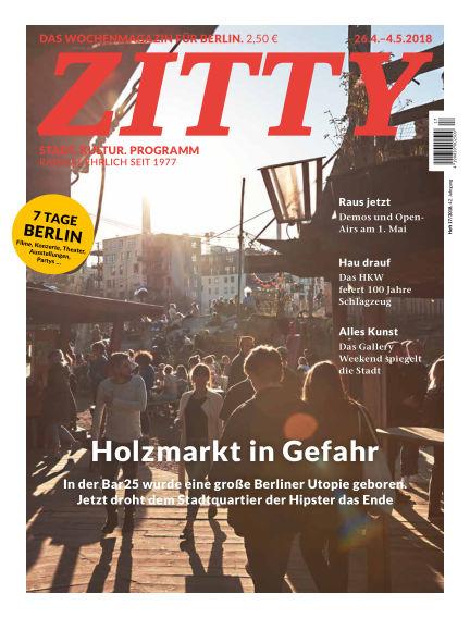 ZITTY Das Berlin-Magazin für 14 Tage und die Nächte April 24, 2018 00:00
