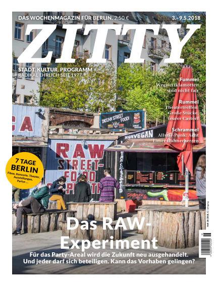 ZITTY Das Berlin-Magazin für 14 Tage und die Nächte May 01, 2018 00:00