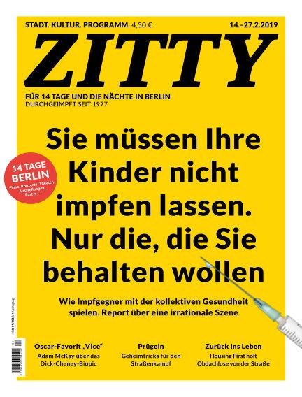 ZITTY Das Berlin-Magazin für 14 Tage und die Nächte February 12, 2019 00:00
