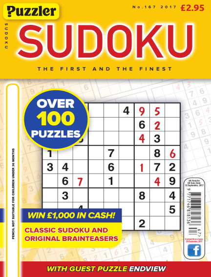 Puzzler Sudoku August 16, 2017 00:00