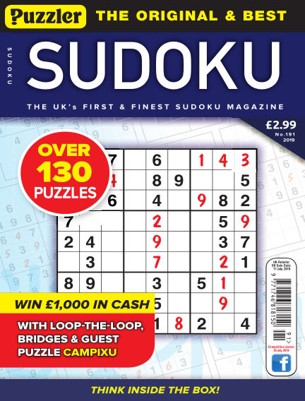 Puzzler Sudoku June 19, 2019 00:00