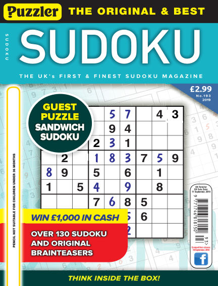 Puzzler Sudoku August 14, 2019 00:00