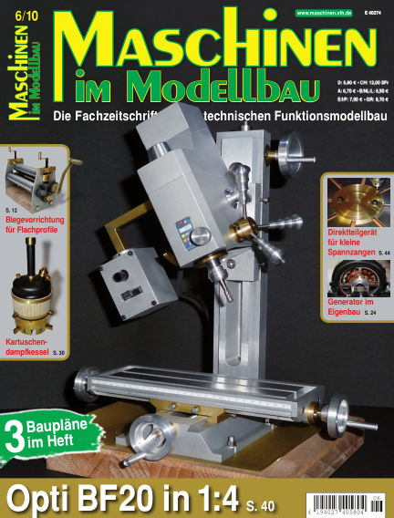 Maschinen im Modellbau November 01, 2010 00:00