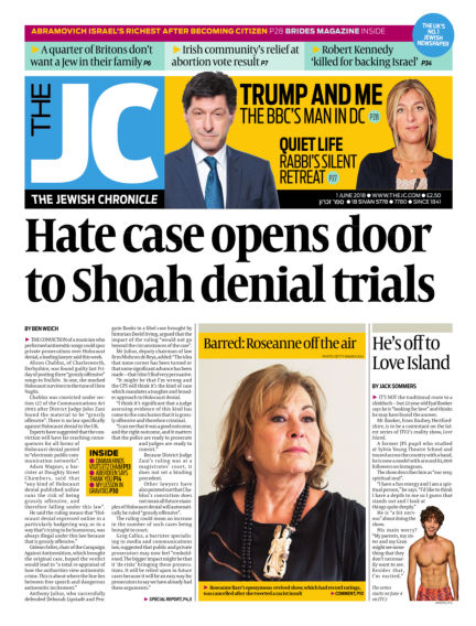 The Jewish Chronicle June 01, 2018 00:00