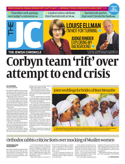 The Jewish Chronicle August 10, 2018 00:00