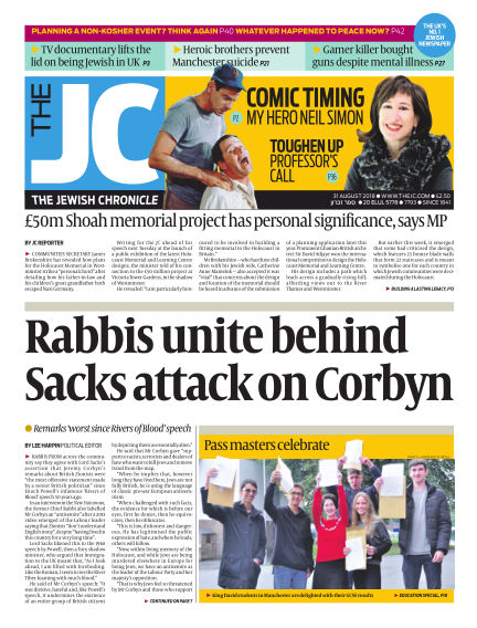 The Jewish Chronicle August 31, 2018 00:00