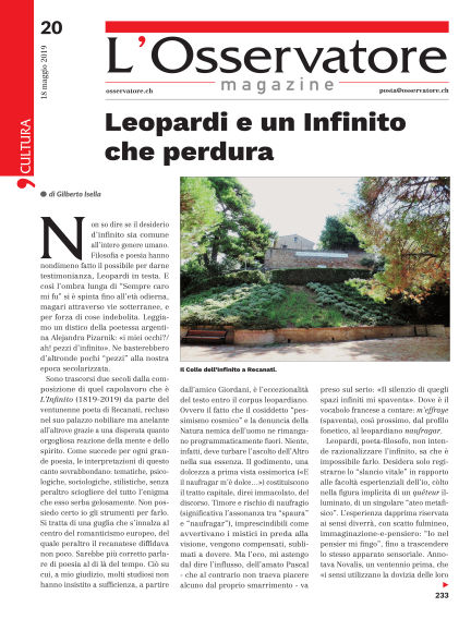 L'Osservatore Magazine May 18, 2019 00:00