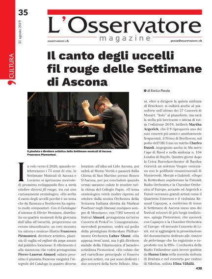 L'Osservatore Magazine August 31, 2019 00:00