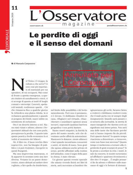 L'Osservatore Magazine March 14, 2020 00:00
