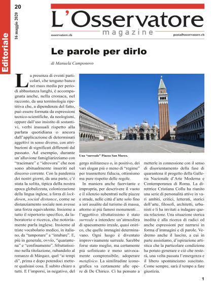 L'Osservatore Magazine May 16, 2020 00:00