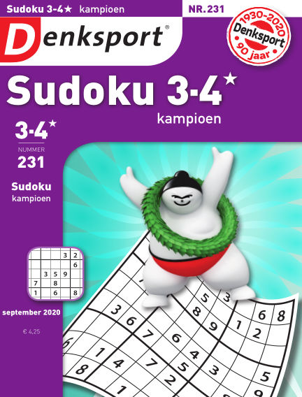 Denksport Sudoku 3-4* kampioen August 27, 2020 00:00